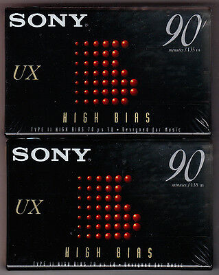 Lot of 2 Sony UX 90 Type II High Bias Cassettes Tapes New Sealed