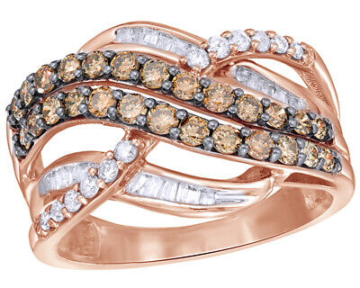 1 CT Round Cut Brown & White Diamond Layered Crossover Ring in 10K Rose Gold