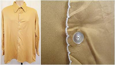 L/XL - Vintage 70's Mens Shirt Beige Silky Poly Knit Mod Scooter Retro - U962