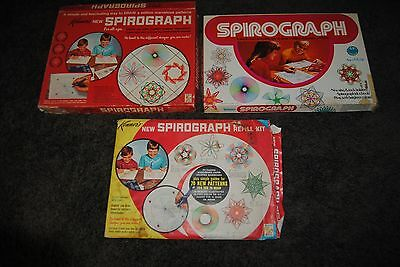 Vintage Spirograph Lot No. 401 & 1421 & Refill Kit Complete Kenners