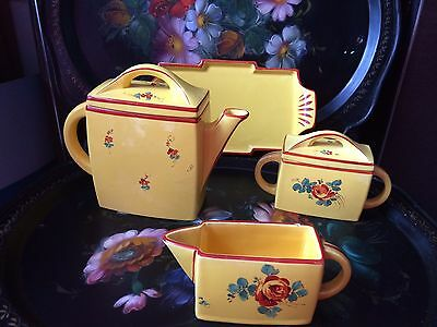Delightful ART DECO France 4 Piece Tea Set ~ Teapot, Sugar Pot, Tray, Creamer