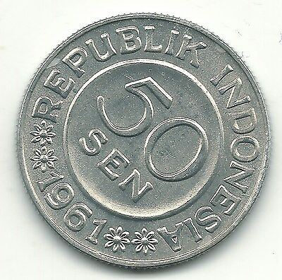 High Grade Au/unc 1961 Indonesia Aluminum 50 Sen Coin-May822