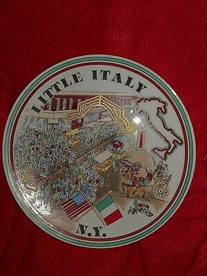"Vintage Souvenir "" Little Italy N.Y. "" 7.5 inch Wall Plate"