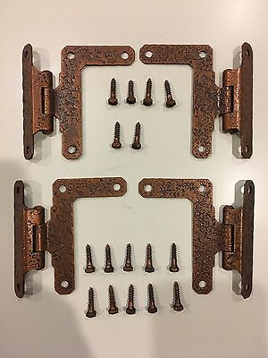 "Two 2X Pair of Vintage Antique Hammered Steel Cabinet Door HINGES 3/8"" Offset"