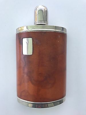 Vintage Tin Lined 10 Oz. Flask With Leather Case Made In Germany