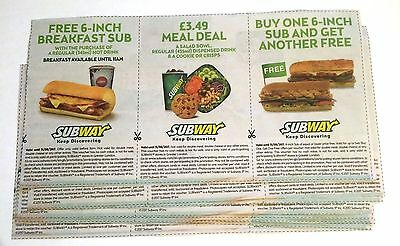 (x27) Subway Store Vouchers (Breakfast Sub, Meal Deal, Buy One Get Another)