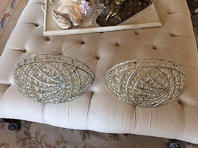 RENASSAINCE Sconces pair BEADED HALF MOON CRYSTAL PRISMS