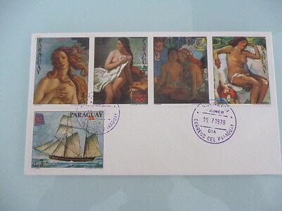 Paraguay 1978 fdc  art stamps different art stamps  x 5