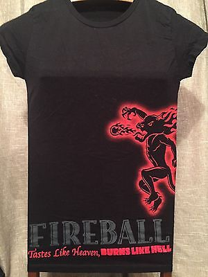 Fireball Whiskey Black Red Womens T-Shirt Tastes like Heaven Burns like Hell S M