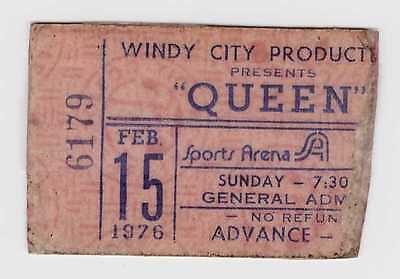 Queen - 2-15-76 - Sports Arena - Toldeo, OH concert ticket stub 1976 - Freddie