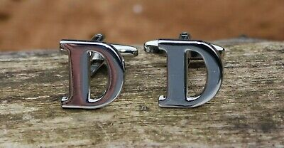 Men's Initial Letter D Cufflinks and Gift Box ~ Mens Novelty Formal Accessory
