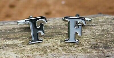 Men's Initial Letter F Cufflinks and Gift Box ~ Mens Novelty Formal Accessory