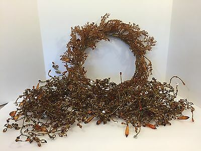 Vtg 32FT Amber Orange Beads Crystals Sequins Wire Garland and Wreath Christmas