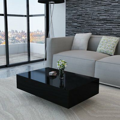 # High Gloss Finish Black Coffee Table 85cm Side End Square Furniture Living Roo