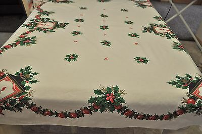 Vintage Christmas Tablecloth Light Post Candle Holly Bows Cotton Print 58X65