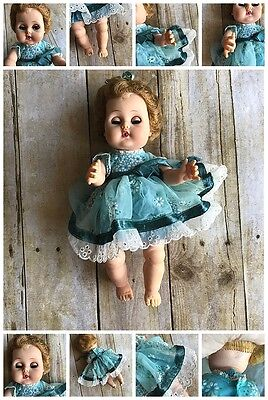 American Character Teeny Toodles 1950's 11in Rooted Hair Blue Peek-a-boo Eyes