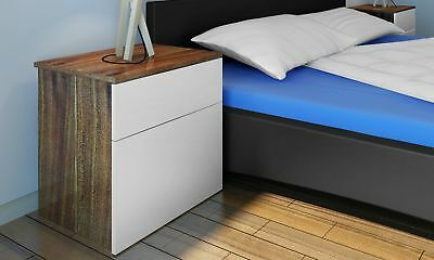 # New Chic Beside Table Cabinet Chest One Drawer Bedroom Nightstand Brown/White
