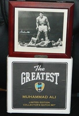 Muhammad Ali Signed Autographed Photo Over Liston Fossil Watch Set With Box Rare