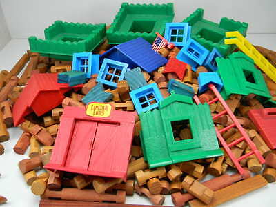 Lincoln Log LOT Building Toys Wood Mixed Sizes 340 Logs Plus Accessory Pieces