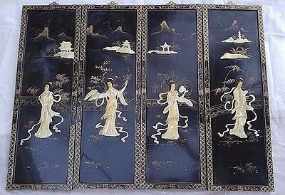4 Vintage Oriental Mother of Pearl Relief Geisha Black lacquer Wall Art. Screen