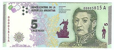 Lower Serial number 2015 Argentina 5 peso note UNC Read description world lot