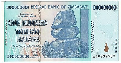 Price drop 15%  2008 Zimababwe $100 trillion note UNC (world/lot) Read Descrip!