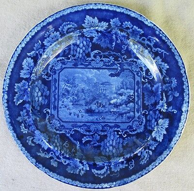 Enoch Wood 1830-40? Dark Blue Transferware Plate London Views Lake Regent's Park