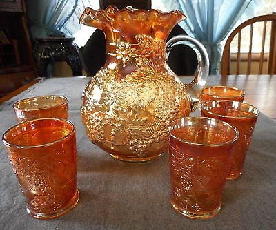 Dugan Marigold Carnival Glass Floral And Grape Water Pitcher & Tumblers 6 Pcs