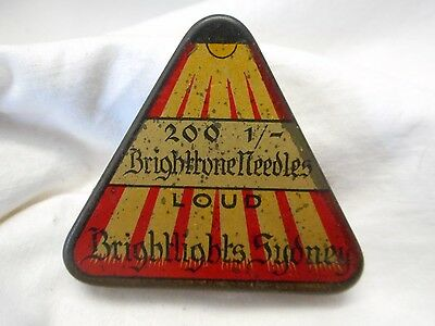 Vintage Rare Triangle Bright Lights Sydney Gramaphone Needles Tin