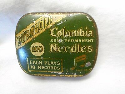 Vintage Green Columbia Gramaphone Needles Tin