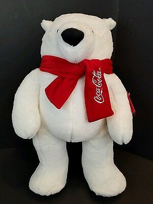 "Coca Cola Polar Bear Plush Stuffed Animal With Scarf NWT Large 21"" x 14"" 2014"