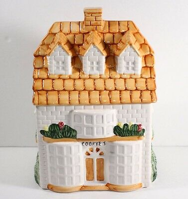 Vintage House Shaped Cookie Jar / Trinket Box Painted Ceramic Cookie Shop White