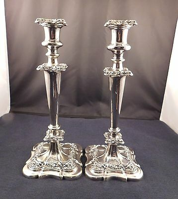 Pair Large Antique 1877 Gorham Silver Plated Candlesticks with Original Bobeches