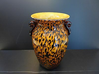 Large Brown & Coffee Coloured Art Glass Vase