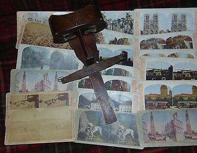 1885 Antique Underwood & Underwood Stereoscope Stereo Card Viewer W/19 Cards