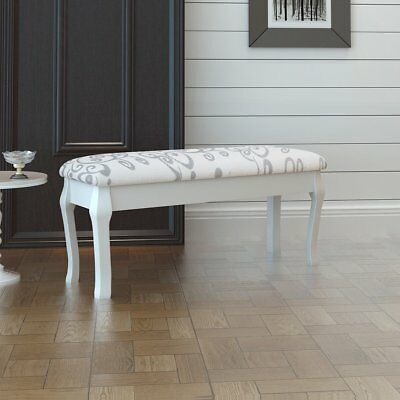 # New Elegant Dressing Stool Luxurious Bedroom Bench Fabric White Ottoman 2-Seat
