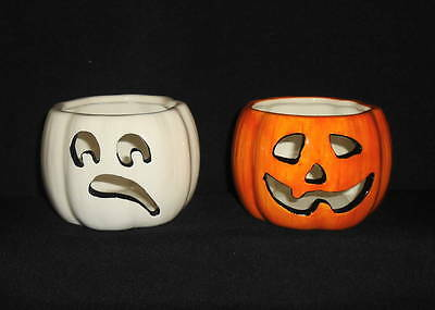 Harry and David Set of 2 Halloween Candle Holders Votives Ghost Pumpkin NEW