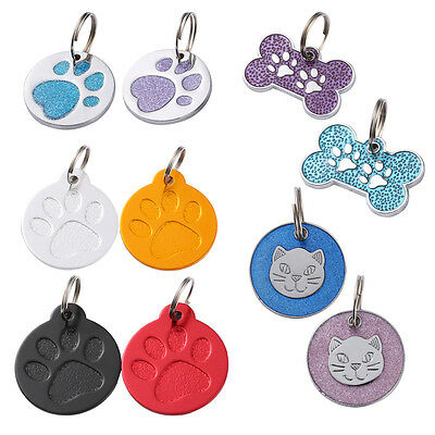 Pet ID Tag Dog Kitten Puppy Cat Name Tags With Ring  No Engraving AU Stock
