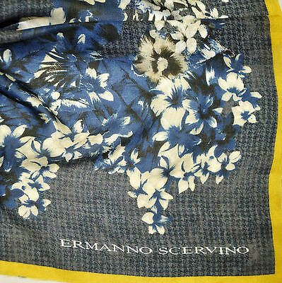 SALE Ermanno Scervino cashmere fabric. Flowers print. Made in Italy. 115x115 cm.