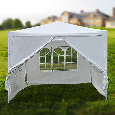 3x3m white PE easy up outdoor party gazebo marquee tent with side walls