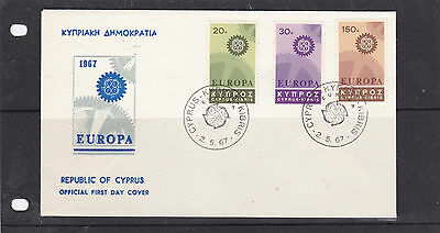 Cyprus 1967 Europa Un-Addressed First Day Cover Sg.302-304