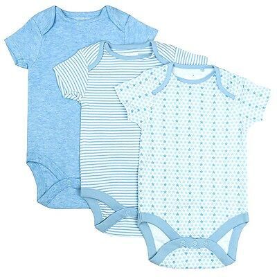 Boys Bodysuit Short Sleeve Value 3 Pack Vests Blue Newborn Baby to 24 Months