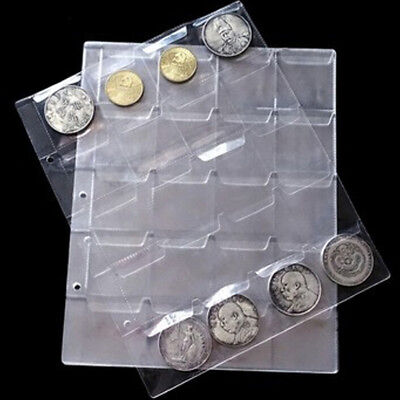 1 Sheet 20 Pockets Plastic Coin Holders Storage Collection Money Album Cases