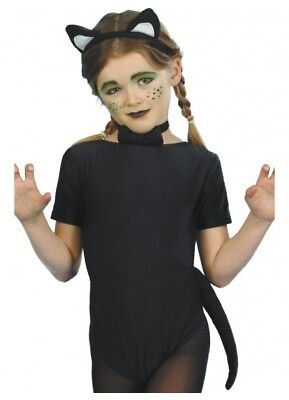 Black Cat Halloween Costume Kit Children Book Week Fancy Dress Set
