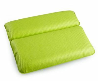 Green Bath Spa Pillow Nonslip Soft Back Neck Support Cushion With Suction Cups