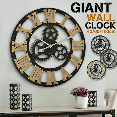 Handmade Clock Large Gear Wall Clock Vintage Rustic Wooden luxury art vintage