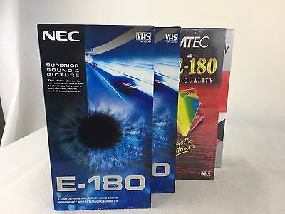 4 x Blank VHS Video Cassette Tapes - 180min - New and Sealed -