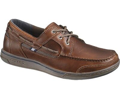 Sebago Triton Three-Eye Deck Boat Shoe UK 13 B810003 Brown Oiled/Dark Brown NEW