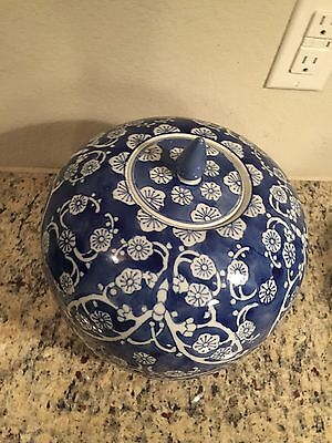 Used Ceramic Decorative Covered Urn White and Blue