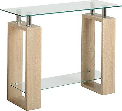 Sonoma Oak Effect Veneer Clear Glass Console Reception Table Desk